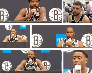 Photo featuring Brooklyn Nets players (from top left to right): Kyrie Irving, Joe Harris, 2nd row: Spencer Dinwiddie, Kevin Durant, and bottom row: DeAndre Jordan and Caris LeVert