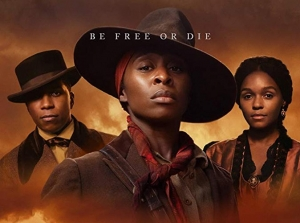 Actors Cynthia Erivo (center), Leslie Odom, Jr. (left), and Janelle Monae in the movie, Harriet.