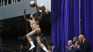 NBA and Los Angeles Lakers legend, Elgin Baylor, at ceremony unveiling his statue outside the Staples Center, the home of the Lakers, in Los Angeles.