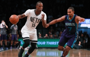 Brooklyn Nets rookie Isaiah Whitehead in for the injured Jeremy Lin, moving to the basket