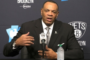 Brooklyn Nets head coach Lionel Hollins, addressing the media