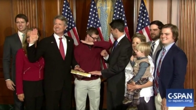 U.S. House of Representative Speaker, Paul Ryan, thought newly elected Representative Roger Marshall's 17-year-old son, Cal, needed to sneeze when he was dabbing at his father's U.S. Congressional ceremonial swearing-in
