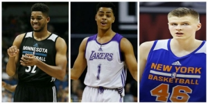 Karl-Anthony Towns; D'Angelo Russell; and Kristaps Porzingis at 2015 NBA Summer League