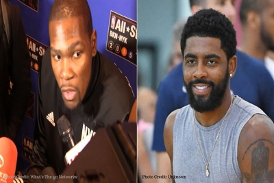 Kevin Durant (left) and Kyrie Irving new members of the Brooklyn Nets acquired during the 2019 NBA Free Agency period.