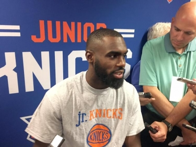 Tim Hardaway Jr. at his re-introduction press conference at Baruch College on July 10, 2017.