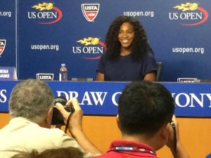 Tennis legend Serena Williams addressing the media at a 2015 US OPEN press conference