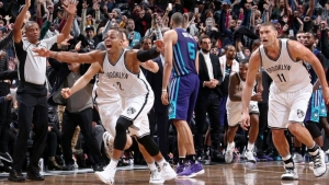 Brooklyn Nets backup guard Randy Foye is elated after he drills a three-point bucket to capture a 120-118 Nets win over the Charlotte Hornets with .9 seconds left in the game at the Barclays Center on December 26, 2016