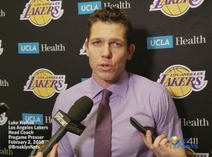 Luke Walton, Los Angeles Lakers head coach, briefing reporters prior to a game against the Brooklyn Nets at the Barclays Center.