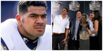 Photo left to right: Junior Seau and his children taking a selfie after their father was inducted into the Pro Football Hall of Fame