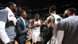 Brooklyn Nets forward Joe Johnson after knocking down buzzer-beating shot to defeat the Denver Nuggets 105-104