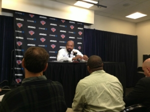 Mike Woodson, head coach of the New York Knicks, talking with the media