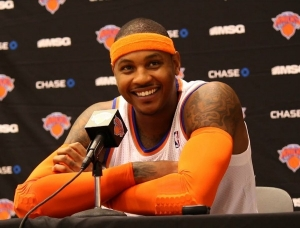 Carmelo Anthony engaging with the media