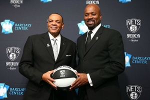 Photo left to right: Lionel Hollins, Brooklyn Nets head coach and Billy King, Brooklyn Nets General Manager at Hollins' introductory press conference