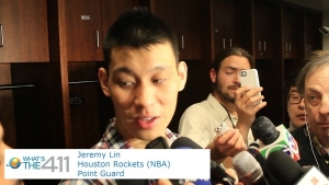 Jeremy Lin of Houston rockets responding to What's The 411TV correspondent Andrew Rosario