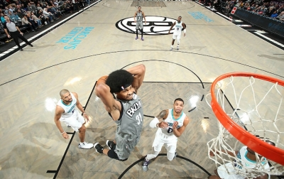 Brooklyn Nets center Jarrett Allen goes for a dunk against the Charlotte Hornets at the Barclays Center in Brooklyn, NY, on November 20, 2019, and; the Nets defeated the Hornets 101-91.