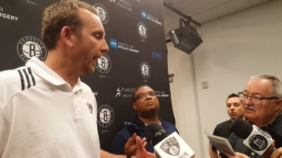 Sean Marks, Brooklyn Nets general manager, briefing reporters on Nets 2017 NBA Draft selections