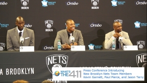 Kevin Garnett, Paul Pierce, and Jason Terry reacting to a question about their age at press conference introducing them as newest members of the Brooklyn Nets