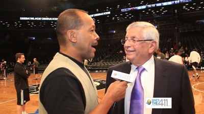 NBA Commissioner, David Stern, talking with What's The 411 reporter, Andrew Rosario, on opening night of the Barclays Center, home of the Brooklyn Nets