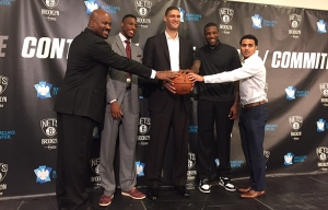 Photo left to right: Brooklyn Nets General Manager Billy King; and players Thaddeus Young; Brook Lopez; Thomas Robinson; and Shane Larkin