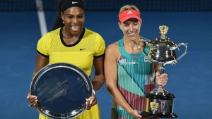 Photo from left to right: World No. 1 Serena Williams poses with Australian Open 2016 winner, Angelique Kerber