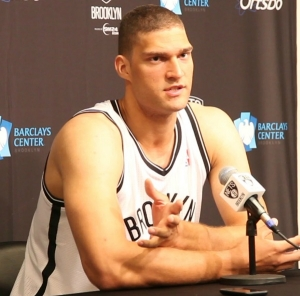 Brooklyn Nets center, Brook Lopez (pictured), along with Reggie Evans, helped to establish a 19-point (56-37) first half lead over the Philadelphia