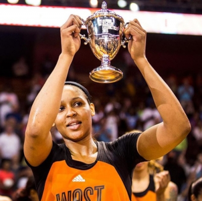 Minnesota Lynx forward Maya Moore, representing the WNBA Western Conference, is the 2015 WNBA All-Star Game MVP; she scored a record 30 points.