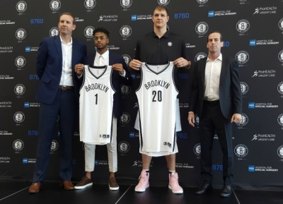 Sean Marks, General Manager, Brooklyn Nets; D'Angelo Russell, Brooklyn Nets guard; Timofey Mozgov, Brooklyn Nets center; and Kenny Atkinson, Head Coach, Brooklyn Nets
