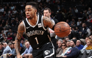 Brooklyn Nets guard D'Angelo Russell driving the ball against the Washington Wizards on Wednesday,  February 27, 2019. Nets lose to Wizards 125-116.
