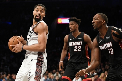 Spencer Dinwiddie, Brooklyn Nets point guard, leads Brooklyn Nets to a 117-113 victory over the Miami Heat at the Barclays Center in Brooklyn, NY, on Friday, January 10, 2020.
