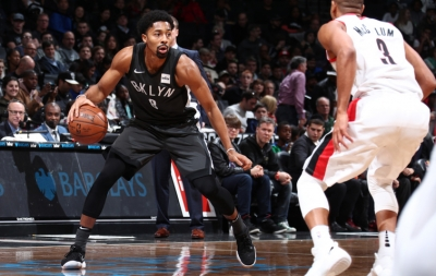 Spencer Dinwiddie, Brooklyn Nets point guard (left) and CJ McCollum, shooting guard for the Portland Trail Blazers