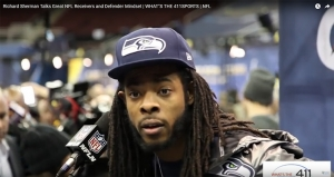 Richard Sherman, Seattle Seahawks cornerback, reponding to What's The 411Sports reporter Andrew Rosario at Super Bowl Media day 2014