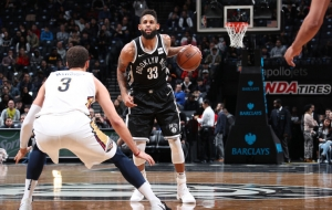 Allen Crabbe, Brooklyn Nets shooting guard has big night against New Orleans Pelicans at Barclays Center on February 10, 2018
