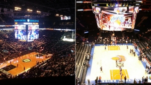Barclays Center, home of the Brooklyn Nets (l) and Madison Square Garden, home of the New York Knicks