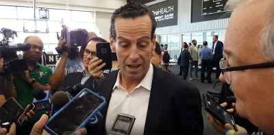 Brooklyn Nets head coach Kenny Atkinson talking with the media. (File Photo)