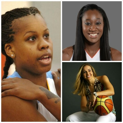 Clockwise from left to right: Epiphanny Prince, Tina Charles, and Becky Hammon