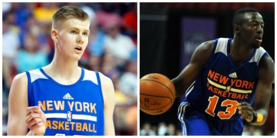 Photo left to right: New York Knicks forward Kristaps Porzingis and guard Jerian Grant