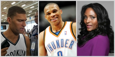 Photo (left to right): Brooklyn Nets center Brook Lopez, Oklahoma City Thunder guard Russell Westbrook, and New York Liberty's (WNBA) first center, Kym Hampton